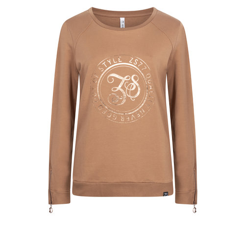 Zoso ZOSO Sweater with print and zipper 204Alice cognac