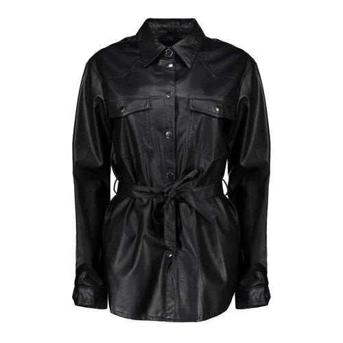 Geisha Geisha leather look blouse PU 000999 black