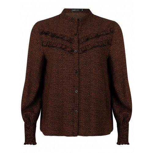 Ydence Ydence Indy print blouse met ruffles op borst black print