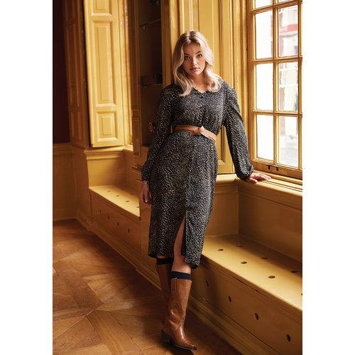 Ydence Ydence jurk met stofknopen Lissa black print
