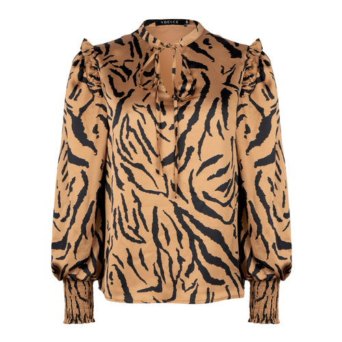 Ydence Ydence Blouse met pofmouw camel tiger print