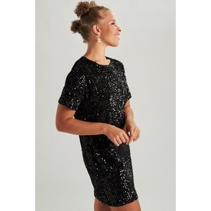 24colours 24Colours dress met pailletjes 20780 black