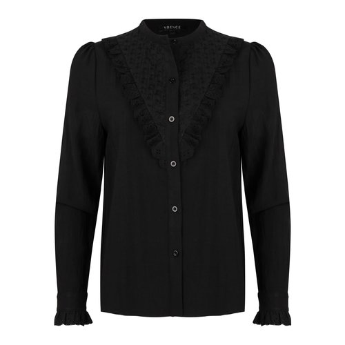 Ydence Ydence Autumn blouse met kanten volants black