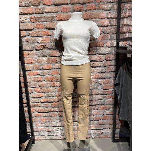High waist leatherlook skinny leg camel