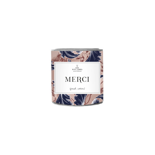The Gift Label Candle small - Merci - Fresh cotton - 1011803