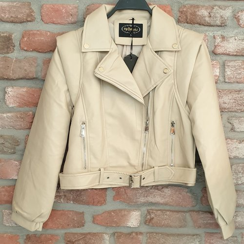 Flammodes leatherlook jasje beige