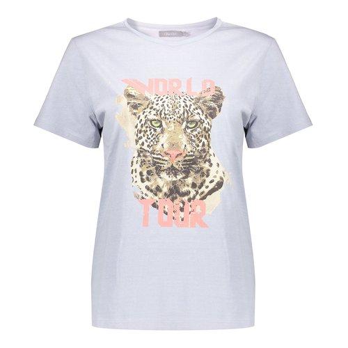 Geisha Geisha t-shirt garment dyed tiger head 12108-24 light blue