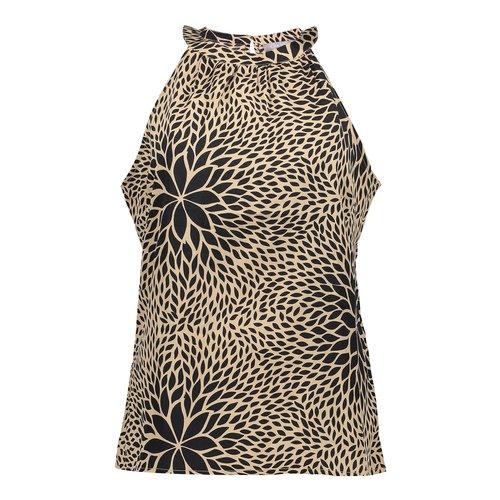 Geisha Geisha top halter flower print 13110-85 black/ beige