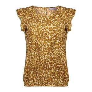 Geisha Geisha top ruffle sleeveless 13099-21 tabacco/ ecru