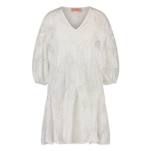 Freebird Freebird Dante long sleeve mini dress off-white