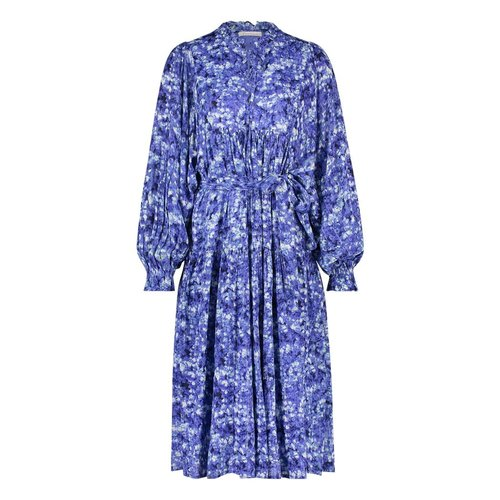 Freebird Freebird Mabel Cloud Flower long sleeve midi dress blue