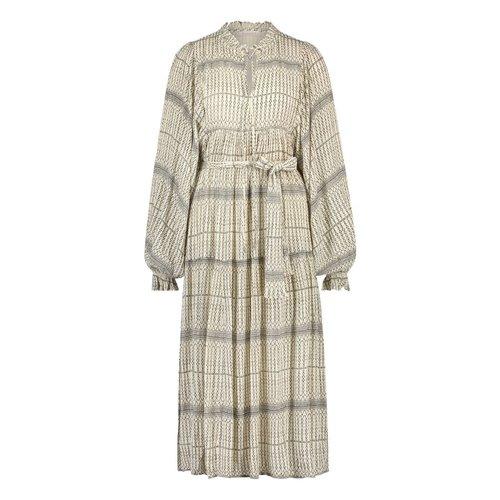Freebird Freebird Mabel Etnic long sleeve midi dress Off-white