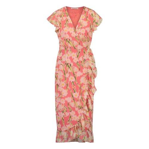 Freebird Freebird Rosy midi Gladiol short sleeve midi dress pink