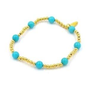 Fushi Fushi armband 4mm turquoise verguld gouden balletjes