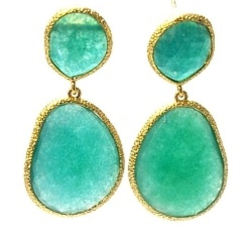 Fushi Fushi Oorbellen facet geslepen duo goud Emerald