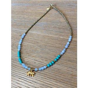 Fushi Fushi Ketting Leopard mint/lichtblauw