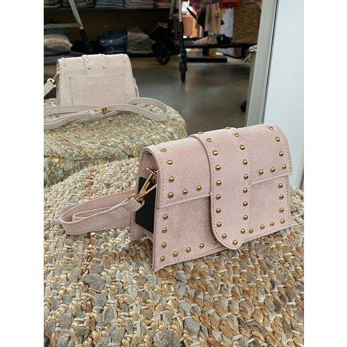 Amsterdam Shoulder Bag suede metal studs light pink
