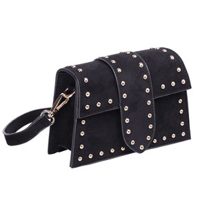 Amsterdam Shoulder Bag suede metal studs black