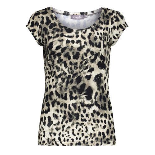 Geisha Geisha T-Shirt AOP Kate 12423-60 sand-black leopard
