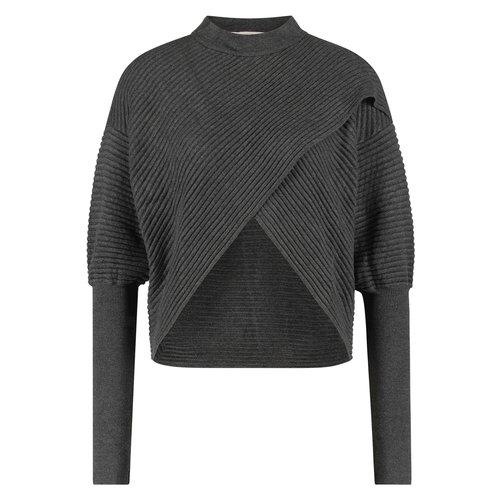 Freebird Freebird Sweater Selena vis-21-3  dark grey mel