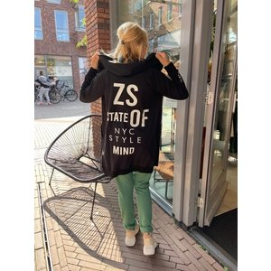 Zoso Zoso Comfy sweat Cardigan 215 Mila black/off white
