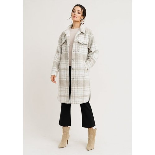Rut&Circle Rut&Circle check Coat Becky beige/white