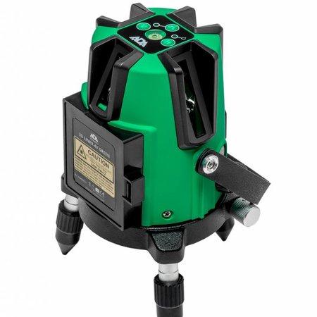 ADA  3D Liner 4V Groene kruislijnlaser met 5 zeer helder groene lijnen, inclusief Li-ion accu en lader