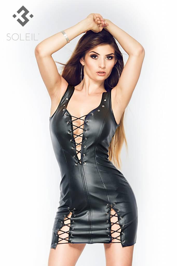 * SOLEIL by XXX COLLECTION Zwarte leren jurk met vetersluitingen