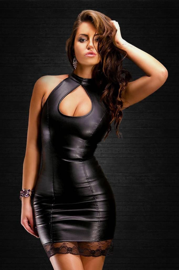 * SOLEIL by XXX COLLECTION Zwarte leren jurk met opening bij borsten