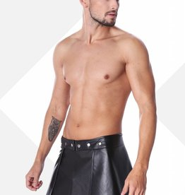 * Code8 by XXX COLLECTION Zwart leren heren rok met mesh aan de voorzijde
