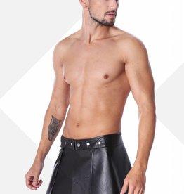 XXX COLLECTION Zwart leren heren rok met mesh aan de voorzijde