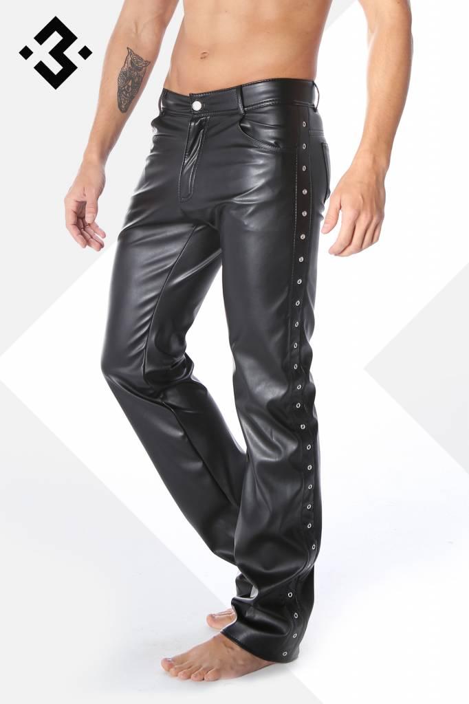 * Code8 by XXX COLLECTION Zwart leren heren broek 5-pocket
