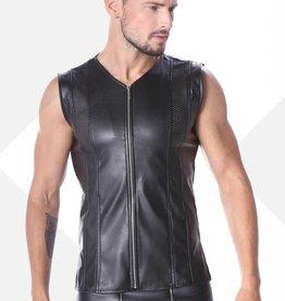 Code8 by XXX COLLECTION Zwart leren heren shirt met mesh aan voor en achterzijde