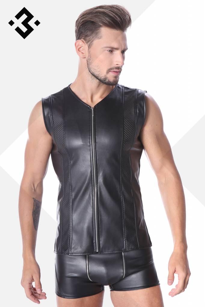 * Code8 by XXX COLLECTION Eco-Leren Shirt met mesh aan voor en achterzijde