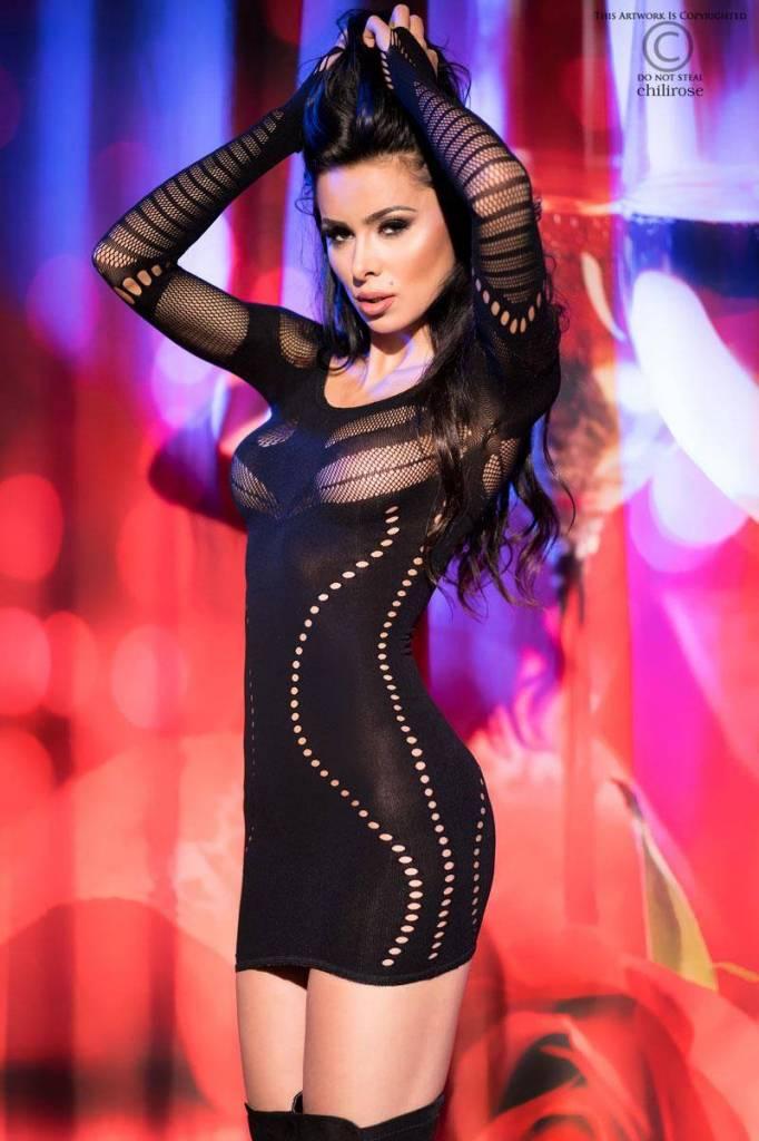 CHILIROSE Charmante, naadloze mini jurk met lange mouwen