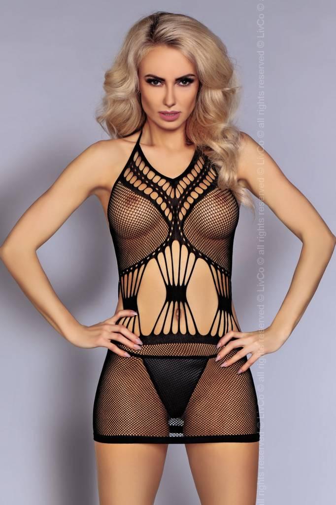 * LIVCO CORSETTI Zwart net jurkje Yeliz