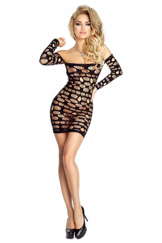 * PROVOCATIVE Gewaagde zwarte dots jurk.