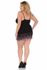ANDALEA Sexy zwart en roze babydoll met kanten rand en  vetersluiting op de dijen