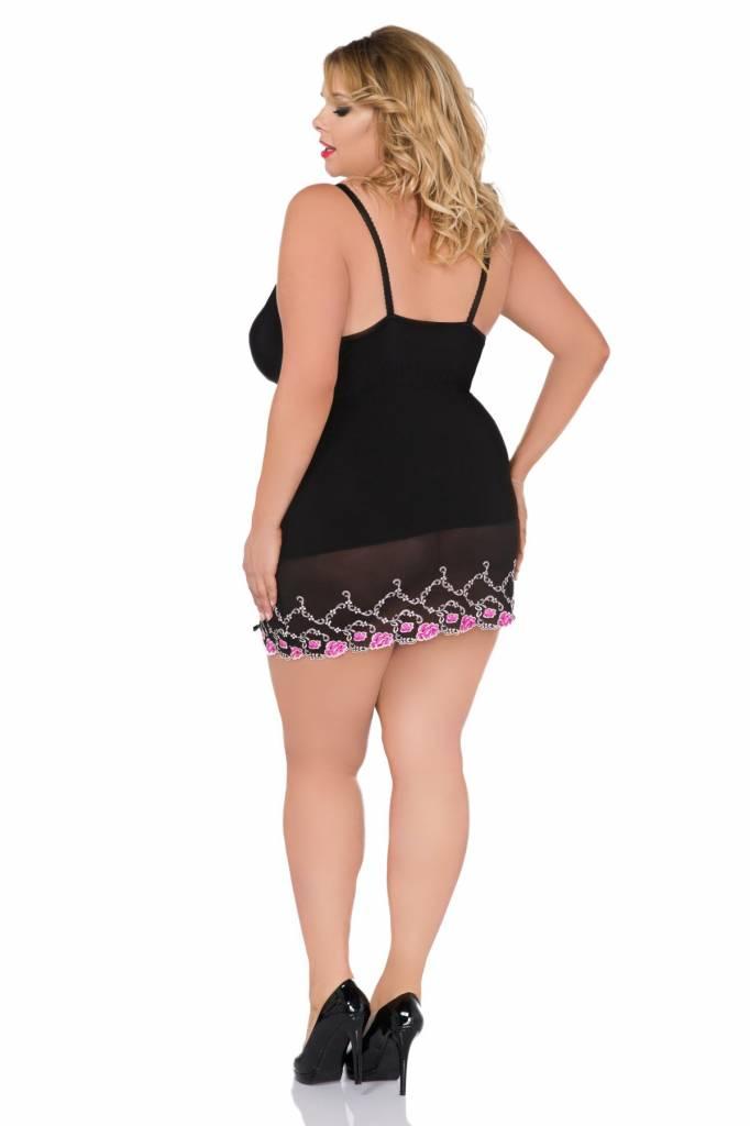 * ANDALEA Sexy zwart en roze babydoll met kanten rand en  vetersluiting op de dijen