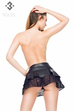 SOLEIL  by XXX COLLECTION Zwarte leren mini stroken rok met elastisch kant.