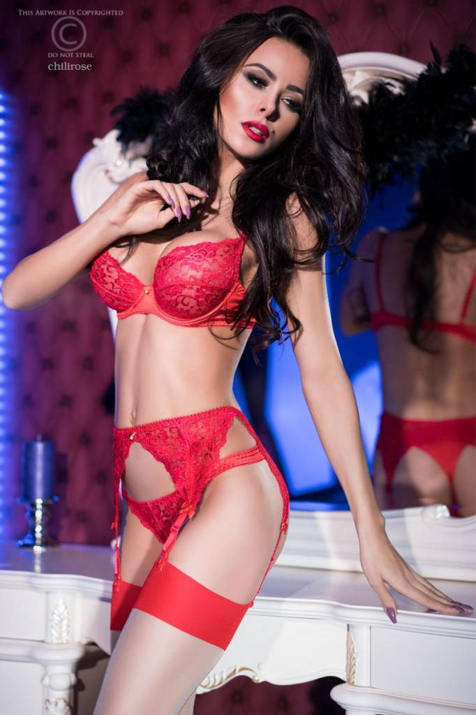 * CHILIROSE Sexy rode lingerieset CR4192-R van Chilirose