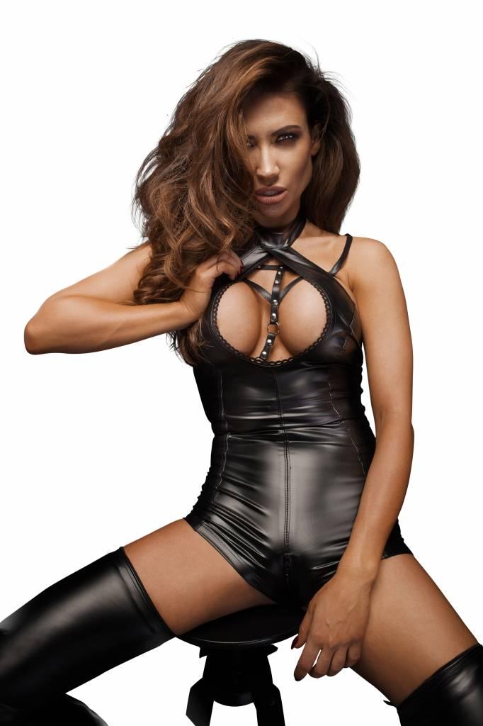 * NOIR handmade Wetlook bodysuit met gestreken halslijn