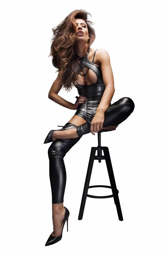 NOIR handmade Wetlook bodysuit met gestreken halslijn van Noir Handmade B # TCH