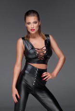 NOIR handmade Wetlook top met vetersluiting van Noir Handmade Muse