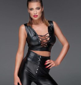 * NOIR handmade Wetlook top met vetersluiting