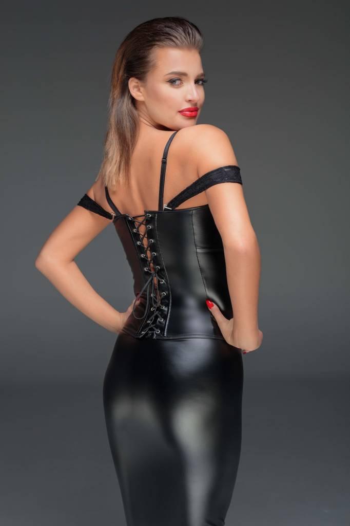 * NOIR handmade Wetlook corsage met kant van Noir Handmade Muse