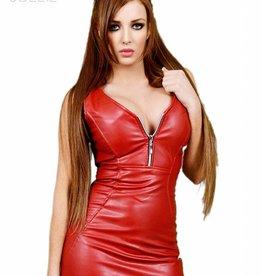* SOLEIL  by XXX COLLECTION Rode leren getailleerde jurk