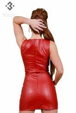 SOLEIL  by XXX COLLECTION Soleil-Fashion rood imitatie leer jurkje