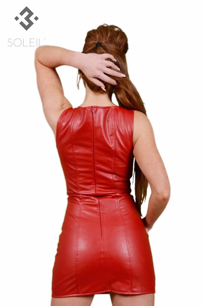 * SOLEIL  by XXX COLLECTION Soleil rood imitatie leer jurkje