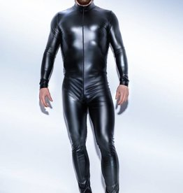 NOIR handmade Wetlook heren catsuit met tweewegrits